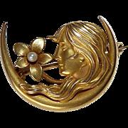 Art Nouveau 14k Gold Crescent Pin w Woman & Flower