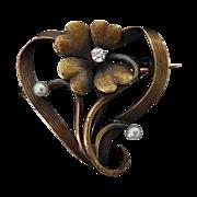 SALE Antique 14k Art Nouveau Stylized Heart & Flower Watch Pin