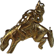 14k YG Pin Cowboy on Bucking Bronco c1915