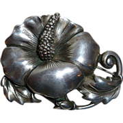 Viking Craft Sterling Silver Sculptural Hibiscus Flower Pin