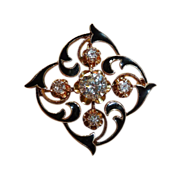 14k Diamond Enamel Victorian Revival Pendant / Pin