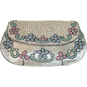 White Silk French Beaded Purse Floral Pastel Trim