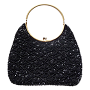 Black Beaded & Sequin Evening Purse/Clutch