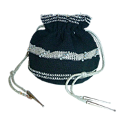 Black & Silver Crochet Rayon Cord Pull String Purse