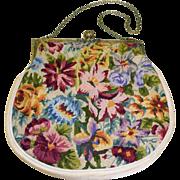 Vintage Vibrant Floral Silk Needlepoint Purse
