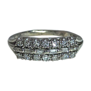 Art Deco 14k White Gold Ring 3 Rows of Diamonds