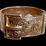 Rare English 15k Engraved Buckle Band Ring