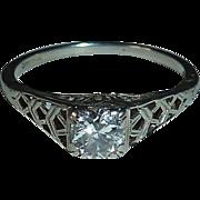 18k White Gold Art Deco Diamond Ring c1930s