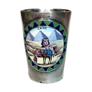 Egyptian Revival 800 Silver Shot Glass Enamel Medallion