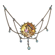 14k Art Nouveau Festoon Necklace Enamel Diamonds Pearls Rubies