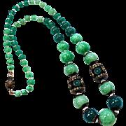 Art Deco Czech Green Glass Bead & Brass Necklace