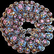 Venetian Blue Glass Bead Necklace Rosebuds & Gold Swirl