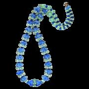 Art Deco Blue & Green Slag Glass Flower Bead Necklace