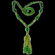 Art Deco Green Glass Tasseled Flapper Necklace