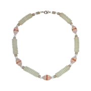 Art Deco Frosted Glass Bead Choker Necklace