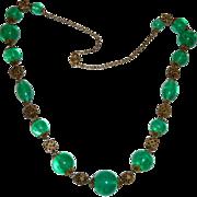 Art Deco Green Art Glass & Brass Filigree Bead Necklace