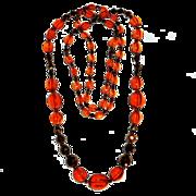Vivid Orange & Copper Flashed Graduated Glass Bead Necklace