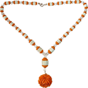 Art Deco Orange & White Czech Glass Bead Necklace w Large Rose Drop