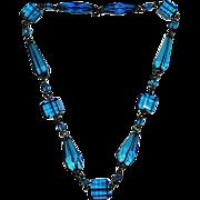 Peacock Blue Art Deco Glass Bead Necklace