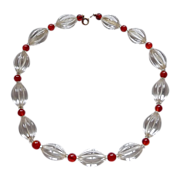 Rare Art Deco Fluted Rock Crystal Bead Necklace Carnelian Spacers