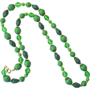 Glass Bead Necklace in Shades of Green c1950s