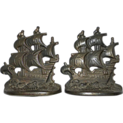 SOLD Cast Iron Spanish Galleon Bookends c1928