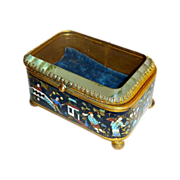 Chinese Cloisonne Hinged Box Bevel Glass Top
