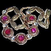 Art Deco 14k Rose Gold Bracelet Ruby & White Sapphire