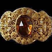 Rare Hallmarked Ornate Gilt Filigree Bracelet Amber Vauxhall Jewel