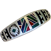 Native American Signed Sterling Bracelet Unusual Mosaic Stone Inlay