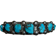 Vintage Sterling & Turquoise Native American Cuff Bracelet