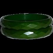Green Bakelite Pair of Faceted Bangle Bracelets