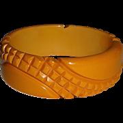 Heavily Carved Pineapple Texture Bakelite Bangle Bracelet