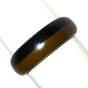 Laminated Black & Olive Bakelite Bangle Bracelet