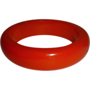 Chunky Orange Bakelite Bangle Bracelet