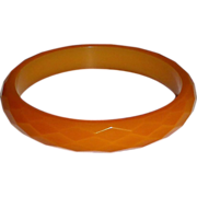 Faceted Butterscotch Bakelite Bangle Bracelet