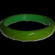 Faceted Green Bakelite Bangle Bracelet