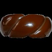 Chunky Chocolate Bakelite Wide Rope Bangle Bracelet