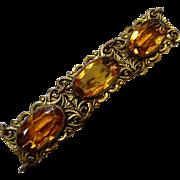 Art Nouveau Brass Bracelet Large Amber Glass Jewels