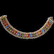 Art Deco Brass Bracelet 2 Row Multi Colored Rhinestones