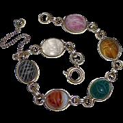 Egyptian Revival Semi Precious Stone Scarab Beetle Bracelet