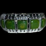End-of-the-Day-Green Bakelite & Chrome Panel Bracelet