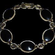 Symmetalic Sterling 14k GF Onyx Bracelet