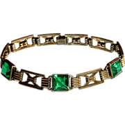 Simmons Sterling Gold Wash Bracelet Green Glass Jewels