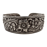 Sterling Floral Repousse Wide Cuff Bracelet