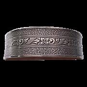 Victorian Signed Sterling Hand Chased Wide Bangle Bracelet