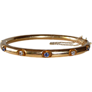 14k Hinged Bangle Bracelet with 3 Sapphires 2 Diamonds