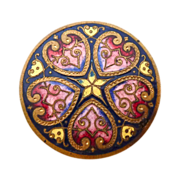 SOLD Victorian Hearts & Flowers Vibrant Enamel on Brass Button