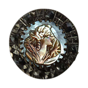 SOLD Carved Mother of Pearl Cameo & Cut Steel Metal Button - Red Tag Sale Item