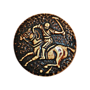 Celluloid Large Molded Button Polo Player on Horse